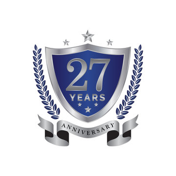 27th anniversary years shield blue silver color