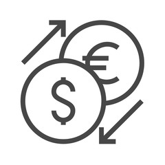 Currency Exchange Thin Line Vector Icon. Flat icon isolated on the white background. Editable EPS file. Vector illustration.