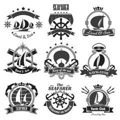 Nautical heraldic symbols, marine vector icons set