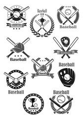 Baseball club awards vector template icons set