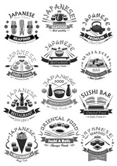 Vector seafood sushi rolls icons for japanese menu