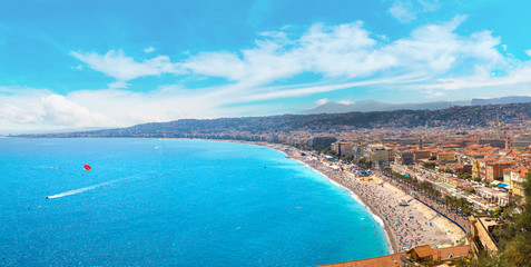 Foto op Canvas Nice Panoramic view of beach in Nice