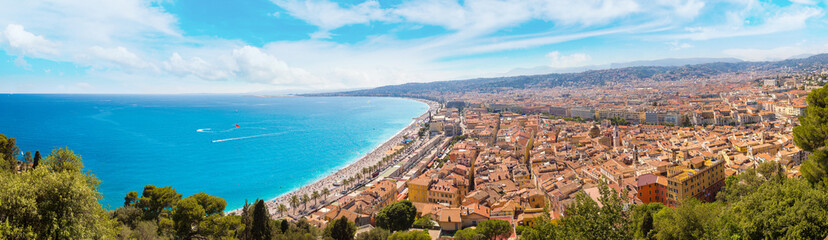 Fotorolgordijn Nice Panoramic view of beach in Nice