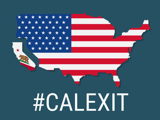 Calexit - California is secede From USA. State flag of USA and California republic. California Independence Campaign. Vector illustration. Broken flag of USA.
