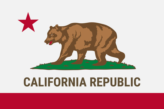 Flag of California American state. Vector illustration.