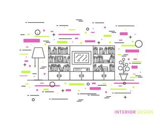 Linear flat interior design illustration of modern designer living room interior space with flower, shelves, bookcase. Outline vector graphic concept of living room interior