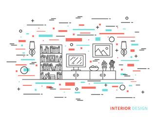 Linear flat interior design illustration of modern designer living room interior space with flowers, shelves, bookcase, lamps, pictures, tv. Outline vector graphic concept of living room interior