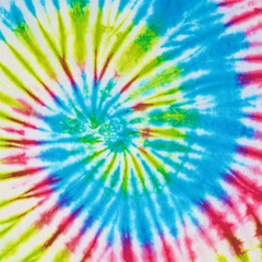 Wall Mural - close up shot of tie dye fabric texture background in square ratio