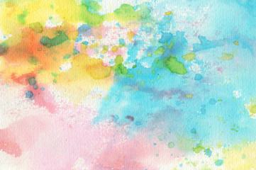 Abstract colorful water color for background. Watercolor blue green red orange purple yellow wet brush hand drawn paper texture background. Designed art background. Used watercolor elements.
