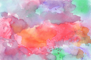 Abstract colorful water color for background. Watercolor wet brush hand drawn paper texture background. Designed art background. Used watercolor elements.