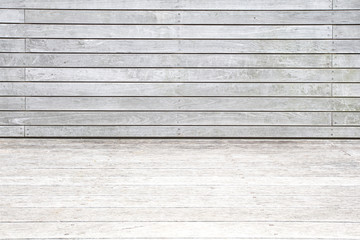 Outdoor wood floor and wood fence background and texture