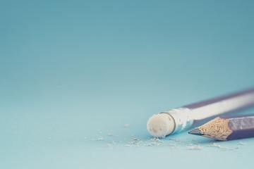 Closeup of pencil eraser , soft focus. Mistake erase concept. Wall mural