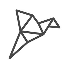 Origami Bird Thin Line Vector Icon. Flat icon isolated on the white background. Editable EPS file. Vector illustration.
