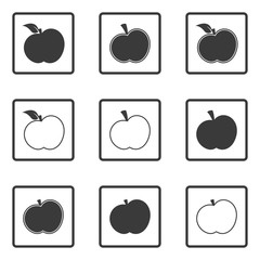 Set of abstract vector icon - apple, apple vector silhouette icon