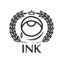 Ink tattoo salon label with eye, small tear, king crown