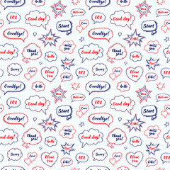 Hand drawn set of speech bubbles with dialog words: Hi, Love, Sorry, Welcome, Bye. Vector seamless pattern. Endless abstract background