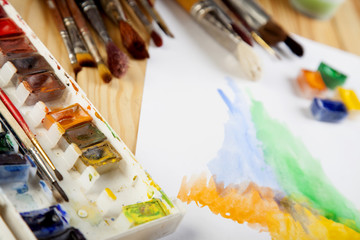 Paint brushes painter work place photo