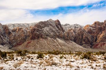 Red Rock Conservation Area Las Vegas Nevada Snowy Wintertime