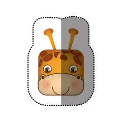 colorful face sticker of giraffe in square shape vector illustration