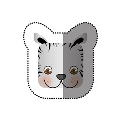 colorful face sticker of tiger in square shape vector illustration