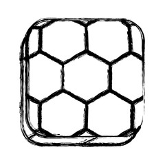 monochrome sketch of square button with soccer shape ball vector illustration