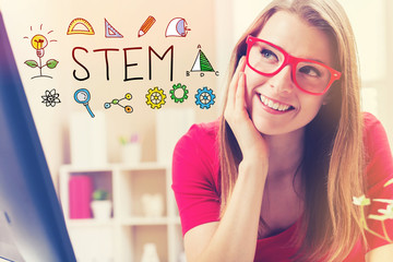 STEM text with young woman