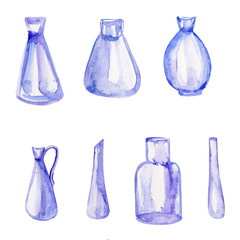 Watercolor vase, jar, pot isolated on white background, hand drawn illustration decorative dishware, glass set for design florist shop, gardering, wedding invitation, beauty salon, package cosmetics