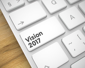 Vision 2017 - Text on White Keyboard Key. 3D.