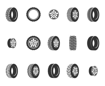 Tires, wheel disks auto service vector icons