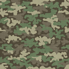 Fabric camouflage texture vector illustration. Camo scrim or camouflages net seamless pattern