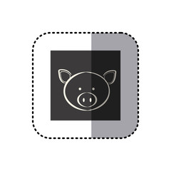 sticker of black background square with face of pig vector illustration