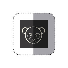 sticker of black background square with face of panda vector illustration