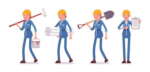 Set of female worker with different tools