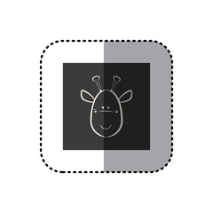 sticker of black background square with face of giraffe vector illustration