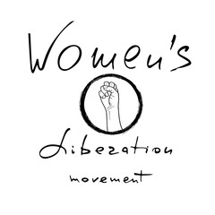 Women`s liberation movement .  Feminism poster with female fist.  Brush lettering. Vector design.