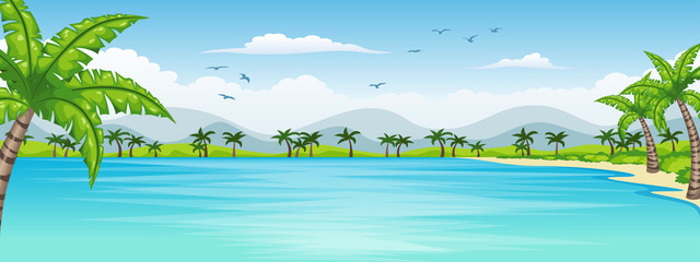 Wall Mural - Illustration of a tropical coastal landscape