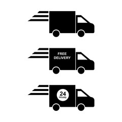 delivery icon black color isolated vector