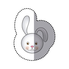 sticker colorful picture face cute rabbit animal vector illustration