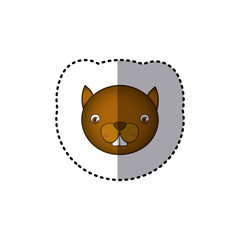 sticker colorful picture face cute squirrel animal vector illustration