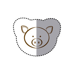 sticker with brown line contour of face of pig vector illustration