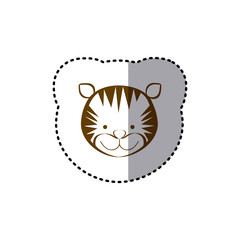 sticker with brown line contour of face of tiger vector illustration