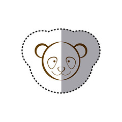 sticker with brown line contour of face of panda vector illustration