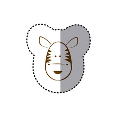 sticker with brown line contour of face of zebra vector illustration