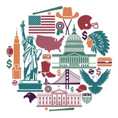Symbols of the USA in the form of a circle