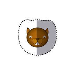 small sticker colorful picture face cute squirrel animal vector illustration
