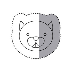 sticker of grayscale contour with face of squirrel vector illustration