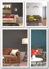 Collage of modern home interior. 3d illustration
