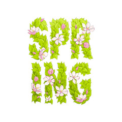 "Letters of greenery ""Spring"""