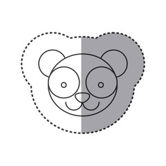sticker of grayscale contour with face of panda vector illustration