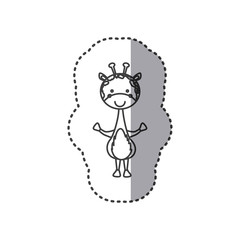 sticker of grayscale contour of giraffe vector illustration